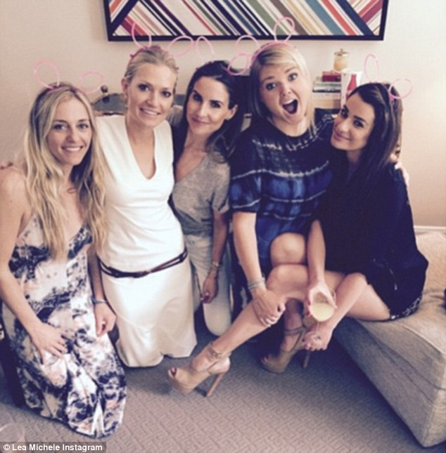 Bunny ears: Lea Michele shared an Instagram of herself and friends wearing bunny ears