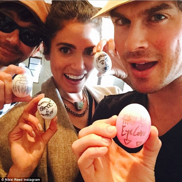 Family time: Nikki Reed shared her egg decorations on Easter