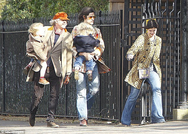 Family outing:Thomas was spotted enjoying a low-key day out in London with Peaches' father Bob Geldof and sister Pixie last month