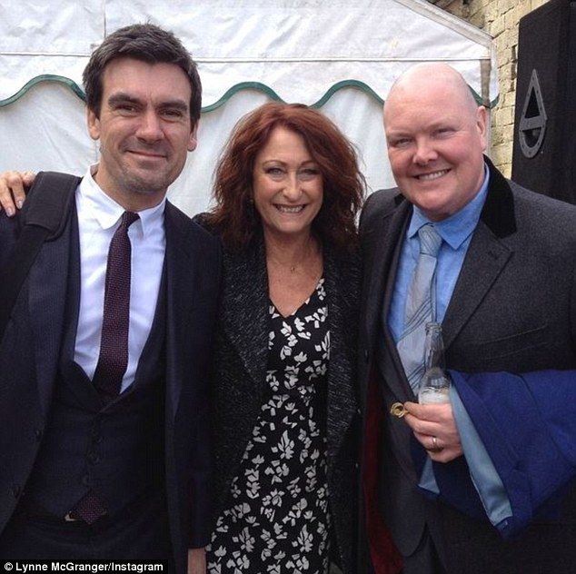 Big fan: She also shared a shot of herself with Emmerdale actors Dominic Brunt and Jeff Hordley - who play Paddy Kirk and Cain Dingle respectively