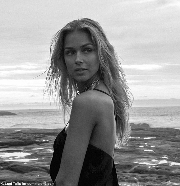 Beachy waves: The blonde beauty's hair was tousled for the shoot providing a natural seaside-inspired look