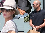 Please contact X17 before any use of these exclusive photos - x17@x17agency.com   Jason Statham and Rosie Huntington-Whiteley appearing  very much together shopping for groceries at Pacific Coast Greens and keeping a low profile. Last night  Rosie was out partying  with Orlando Bloom . April 5, 2015 x17online.com