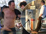 UK CLIENTS MUST CREDIT: AKM-GSI ONLY\nEXCLUSIVE: Vince Vaughn goes shirtless during a photo shoot in Palmdale, California. The famous actor chain smoked between shoots and multiple wardrobe changes during a clothing line photo shoot in the dessert. In one scene Vince appears to try to set a gas station on fire with his cigarette and a newspaper when it is water used for the prop.\n\nPictured: Vince Vaughn\nRef: SPL992346  040415   EXCLUSIVE\nPicture by: AKM-GSI / Splash News\n\n