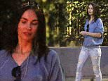 UK CLIENTS MUST CREDIT: AKM-GSI ONLY\nEXCLUSIVE: Actress Megan Fox leaves an Easter party with a smile on her face in Los Feliz, CA on April 5, 2015. She was seen casually dressed in a blue sweatshirt, ripped jeans, gold sandals, and a tiara headband.\n\nPictured: Megan Fox\nRef: SPL992687  050415   EXCLUSIVE\nPicture by: AKM-GSI / Splash News\n\n