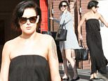 UK CLIENTS MUST CREDIT: AKM-GSI ONLY\nEXCLUSIVE: Actress Rumer Willis is becoming quite the fashionista as she wears two different fashionable dresses to DWTS rehearsal in Hollywood, CA on April 5, 2015. She was first spotted going into the studio with a short gray long-sleeve dress and black sandals, while on the way out she wore a strapless black dress with high-slits coming up the side and black sandals.\n\nPictured: Rumer Willis\nRef: SPL992651  050415   EXCLUSIVE\nPicture by: AKM-GSI / Splash News\n\n