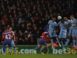 Barclays Premier League. Crystal Palace v Manchester City 06/04/15: Kevin Quigley/Daily Mail/Solo Syndication Jason Puncheon scores 2-0
