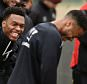 LIVERPOOL, ENGLAND - APRIL 06:  (THE SUN OUT, THE SUN ON SUNDAY OUT) Daniel Sturridge and Raheem Sterling of Liverpool share a laugh during a training session at Melwood Training Ground on April 6, 2015 in Liverpool, England.  (Photo by Andrew Powell/Liverpool FC via Getty Images)