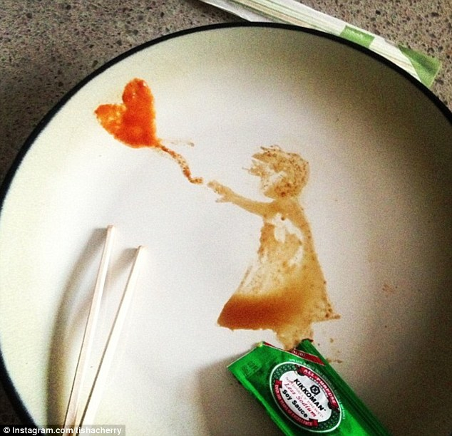 Heart balloon: A minimalist interpretation of street artist Banksy's simple but iconic 'There is always hope' graffiti work, using soy sauce and sriracha