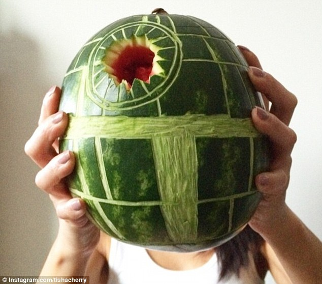 Star War-termelon: Ms Cherry used this fruit to create an edible Death Star from George Lucas' Star Wars franchise