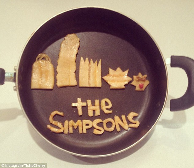 Cartoon-tastic: This time, Ms Cherry chooses a skillet as her canvas, and fashions The Simpsons out of plantains