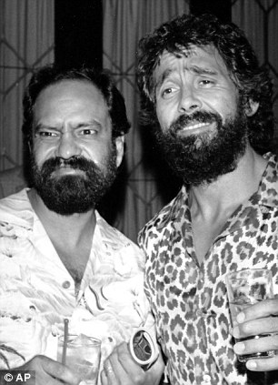 Chuckles: Cheech and Chong (left) were fashioned using rice, beans and salsa, and The Simpsons (right) came to life in the form of cleverly cut plantains