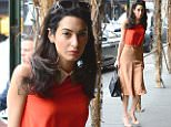 NEW YORK, NY - APRIL 07:  Amal Ramzi Clooney is seen  walking uptown  on April 7, 2015 in New York City.  (Photo by Raymond Hall/GC Images)