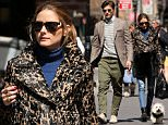 Fashion blogger Olivia Palermo, wearing a leopard print coat, ripped jeans, ankle boots and purse with furry accessory and her husband Johannes Huebl walk with their dog Mr. Butler as they leave Sant Ambroeus restaurant on April 6, 2015 in SoHo, New York City.\n\nPictured: Olivia Palermo,Johannes Huebl\nRef: SPL992594  060415  \nPicture by: Christopher Peterson/Splash News\n\nSplash News and Pictures\nLos Angeles: 310-821-2666\nNew York: 212-619-2666\nLondon: 870-934-2666\nphotodesk@splashnews.com\n