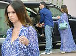 05.APRIL.2015 - LOS ANGELES - USA\n*** EXCLUSIVE ALL ROUND PICTURES ***\n*STRICTLY AVAILABLE FOR UK AND GERMANY USE ONLY*\nPREGNANT ACTRESS JENNIFER LOVE HEWITT SHOWED OFF HER GROWING BABY BUMP ON SUNDAY AS SHE DINED OUT FOR AN EASTER BRUNCH WITH HER HUSBAND BRIAN HALLISAY AND THEIR LITTLE GIRL AUTUMN. THE 'GHOST WHISPERER' STAR HAD THAT PREGNANCY GLOW IN A FESTIVE BLUE CAFTAN WORN WITH MATCHING SAINT LAURENT BAG AND NUDE PUMPS.\nBYLINE MUST READ : XPOSUREPHOTOS.COM\n***UK CLIENTS - PICTURES CONTAINING CHILDREN PLEASE PIXELATE FACE PRIOR TO PUBLICATION ***\n**UK CLIENTS MUST CALL PRIOR TO TV OR ONLINE USAGE PLEASE TELEPHONE 44 208 344 2007**