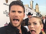 Finally the moment we all have been waiting for. And we both have our tongues out!! Premier of #LongestRide #LetsGo