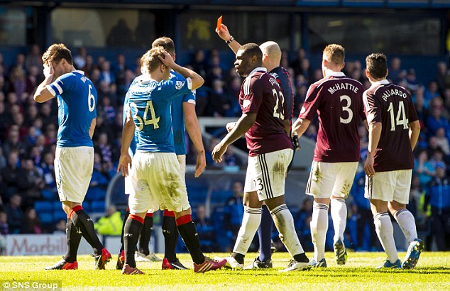 Rangers were reduced to 10 men when captain Lee McCulloch was dismissed from the pitch