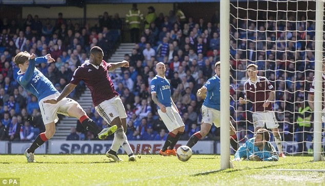 Genero Zeefuik tapped in from close range as Hearts scored a consolation against Rangers