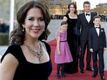 AARHUS, DENMARK - APRIL 8:   Crown Princess Mary and Crown Prince Frederik of Denmark with their children Princess Isabella and Prince Christian attend a Gala Night to mark the forthcoming 75th Birthday of Queen Margrethe II of Denmark at Aarhus Concert Hall on April 8, 2015 in Aarhus, Denmark (Photo by Julian Parker/UK Press via Getty Images)