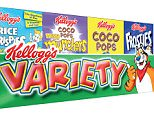 Kelloggs Variety Pack of cereals.