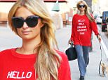 Beverly Hills, CA - Paris Hilton looks happy and cute, as always, after visiting Anastasia Nail Salon with one of her dogs. The blonde Heiress wore a red sweater saying 'Hi' in 5 different languages, gray leggings and Chanel sneakers.\nAKM-GSI     April  8, 2015\nTo License These Photos, Please Contact :\nSteve Ginsburg\n(310) 505-8447\n(323) 423-9397\nsteve@akmgsi.com\nsales@akmgsi.com\nor\nMaria Buda\n(917) 242-1505\nmbuda@akmgsi.com\nginsburgspalyinc@gmail.com