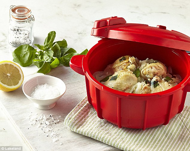 The gadget can cut the cooking time of foods such as chicken (pictured above) potatoes and sponge pudding