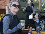 """Picture Shows: Reese Witherspoon, Tennessee Toth  April 08, 2015\n \n """"Wild"""" star Reese Witherspoon picks up a breakfast to go with her son Tennessee in Brentwood, California. While Reese opted for a healthy green smoothie, she let her son splurge on a delicious, chocolate covered sprinkled donut!\n \n Exclusive\n UK RIGHTS ONLY\n \n Pictures by : FameFlynet UK © 2015\n Tel : +44 (0)20 3551 5049\n Email : info@fameflynet.uk.com"""