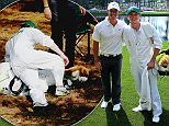 AUGUSTA, GA - APRIL 08:  Rory McIlroy of Northern Ireland poses alongside his caddie Niall Horan of the band One Direction during the Par 3 Contest prior to the start of the 2015 Masters Tournament at Augusta National Golf Club on April 8, 2015 in Augusta, Georgia.  (Photo by Andrew Redington/Getty Images)