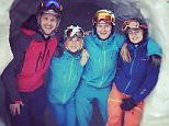 Sam Branson (left) Cressida Bonas (right) and friend Rory Hodell during sa skiing holday in Switzerland Instagram