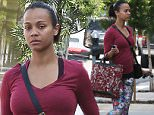 EXCLUSIVE COLEMAN-RAYNER\nHollywood, CA, USA, April 9th, 2015. \nZoe Saldana is spotted feeding a meter before going into the gym in Hollywood. The Avatar actress enjoyed a quick workout before changing outfits and heading to a business meeting later that day.\nCREDIT LINE MUST READ: Coleman-Rayner.\nTel US (001) 310-474-4343- office\nTel US (001) 323-545-7584- cell\nwww.coleman-rayner.com