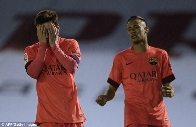 Neymar, pictured with fellow Barcelona superstar Lionel Messi, struggled to impress against Celta Vigo