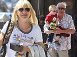 Picture Shows: Jack Pratt  April 09, 2015\n \n 'Mom' actress Anna Faris and her son Jack out for lunch with her parents in Studio City, California. Anna was all smiles in a print t-shirt, blue denim jeans and sneakers.\n \n Exclusive - All Round\n UK RIGHTS ONLY\n \n Pictures by : FameFlynet UK � 2015\n Tel : +44 (0)20 3551 5049\n Email : info@fameflynet.uk.com
