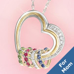 Forever In A Mothers Heart Personalized Heart Shaped Birthstone Pendant Gift - Personalized Heart-shaped Birthstone Pendant Necklace Exclusive Gift for Mom! Swarovski® Crystal Heart for Each Child!