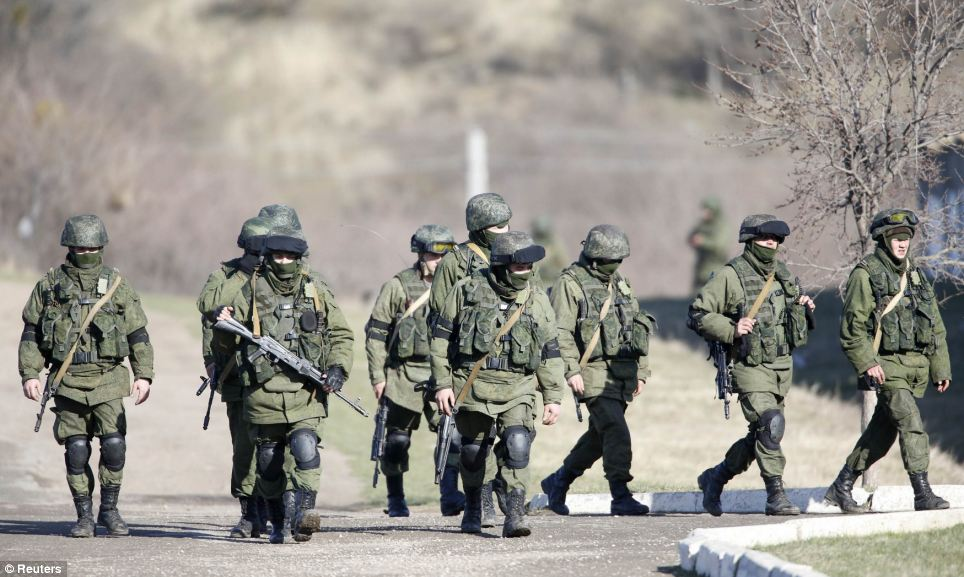 March: The military base is in the village of Perevalnoye, outside Simferopol, in Crimea. Russian troops conducted exercises at the site this morning