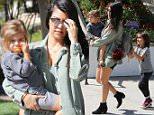 Kourtney Kardashian takes the kids Mason and Penelope to the mall in Calabasas april 11, 2015\nX17online.com