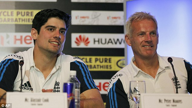 Alastair Cook (left) was coy on Pietersen's chances of a recall but Peter Moores said he 'isn't on the radar'