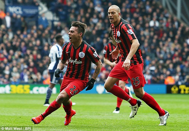 Eduardo Vargas celebrates the opener for QPR in the remarkable 4-1 win over West Brom on Saturday