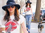 Dakota Johnson enjoys nice weather while on a coffee run with her dog in New York City.\n\nPictured: Dakota Johnson\nRef: SPL997469  120415  \nPicture by: Felipe Ramales / Splash News\n\nSplash News and Pictures\nLos Angeles: 310-821-2666\nNew York: 212-619-2666\nLondon: 870-934-2666\nphotodesk@splashnews.com\n