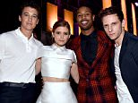 LOS ANGELES, CA - APRIL 12:  (L-R) Actors Miles Teller, Kate Mara, Michael B. Jordan, and Jamie Bell attend The 2015 MTV Movie Awards at Nokia Theatre L.A. Live on April 12, 2015 in Los Angeles, California.  (Photo by Alberto Rodriguez/MTV1415/Getty Images for MTV)