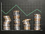 Stacks of coins on a blackboard background forming a fluctuating bar graph.   D2FMM1