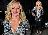 13.APRIL.2015 - LONDON - UK *EXCLUSIVE ALL ROUND PICTURES* SCOTTISH ENTREPRENEUR AND FORMER MODEL MICHELLE MONE IS SEEN ARRIVING IN A BLACK CAB AT THE IVY RESTAURANT IN CHELSEA, LONDON. MICHELLE WORE BLACK LEGGINGS WITH A PEACOCK AND LEOPARD PRINT TOP. BYLINE MUST READ : XPOSUREPHOTOS.COM ***UK CLIENTS - PICTURES CONTAINING CHILDREN PLEASE PIXELATE FACE PRIOR TO PUBLICATION *** **UK CLIENTS MUST CALL PRIOR TO TV OR ONLINE USAGE PLEASE TELEPHONE 0208 344 2007**