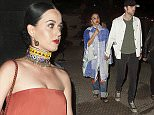 135536, EXCLUSIVE: Katy Perry, Robert Pattinson and girlfriend FKA Twigs attend a show together at the Coachella Music Festival. Katy wore a red flowing dress and a beaded neck piece. Robert and FKA Twigs left the show separately hand in hand. Indio, California - Sunday April 12, 2015. Photograph: © PacificCoastNews. Los Angeles Office: +1 310.822.0419 sales@pacificcoastnews.com FEE MUST BE AGREED PRIOR TO USAGE