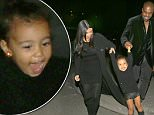 EXCLUSIVE: ***PREMIUM RATES APPLY***Kim Kardashian and Kanye West swing their daughter North in happiness on family date night in Armenia. The happy couple swung North in the air as she had the biggest smiles as her momny and daddy laughed along with her. Kanye and Kim and North were all in matching black outfits as they went out to dinner on their last night in Armenia together as a group. Kim held North in her arms as she and Kanye were dressed very chic for a night out in the city.\n\nPictured: Kim Kardashian, Kanye West, North West\nRef: SPL997575  120415   EXCLUSIVE\nPicture by: Brian Prahl / Splash News\n\nSplash News and Pictures\nLos Angeles: 310-821-2666\nNew York: 212-619-2666\nLondon: 870-934-2666\nphotodesk@splashnews.com\n