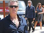 Pierce Brosnan with personalized plate PB EIRE on his Range Rover. arrives at Nobu with wife Keely he covers up his now grey hairy chest with a blue Jkt...April 13, 2015 X17online.com\nNO  WEB SITE USAGE \nMAGAZINES DOUBLE FEES\nAny queries call X17 UK Office /0034 966 713 949/926 \nAlasdair 0034 630576519 \nGary 0034 686421720\nLynne 0034 611100011