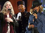 """Singer Pharrell Williams performs """"Happy"""" at the 57th annual Grammy Awards in Los Angeles, California, America.    REUTERS/Lucy Nicholson (UNITED STATES  - Tags: ENTERTAINMENT)   (GRAMMYS-SHOW)"""