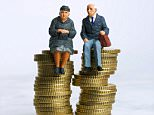 BH2YX5 Old people / couple (figurines) - sitting on a pile of money coins - savings / bills / financial / investment / pensions concept