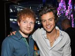 UNIVERSAL CITY, CA - AUGUST 11:  ***EXCLUSIVE COVERAGE*** Musicians Ed Sheeran (L) and Harry Styles of One Direction attend the 2013 Teen Choice Awards at Gibson Amphitheatre on August 11, 2013 in Universal City, California.  (Photo by Kevin Mazur/Fox/WireImage)