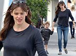 """Picture Shows: Samuel Affleck, Jennifer Garner  April 14, 2015    """"Dallas Buyers Club"""" star Jennifer Garner takes her son Samuel to breakfast in Brentwood, California. Jennifer dressed casually in a navy sweater, blue skinny jeans and houndstooth print loafers for the outing.    Exclusive All Rounder  UK RIGHTS ONLY    Pictures by : FameFlynet UK © 2015  Tel : +44 (0)20 3551 5049  Email : info@fameflynet.uk.com"""