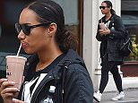 Picture Shows: Leona Lewis  April 13, 2015    Leona Lewis seen leaving a gym in London. Leona had her hands full with an iced coffee, water bottle and cellphone as she made her way into the gym. The singer covered up with a black parka coat and sunglasses.      Exclusive All Rounder  Worldwide Rights  Pictures by : FameFlynet UK © 2015  Tel : +44 (0)20 3551 5049  Email : info@fameflynet.uk.com