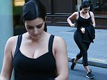 EXCLUSIVE ALL ROUNDER Kim Kardashian leaves the gym at 7:00 am after an hour of sport in Paris, France. 16 April 2015.  16 April 2015. Please byline: Vantagenews.co.uk