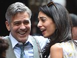 George Clooney and Amal Clooney on the set of Money Monster in NYC.  Pictured: George Clooney and Amal Clooney Ref: SPL1002949  180415   Picture by: Ron Asadorian / Splash News  Splash News and Pictures Los Angeles: 310-821-2666 New York: 212-619-2666 London: 870-934-2666 photodesk@splashnews.com